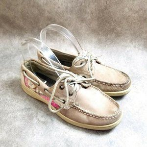 Sperry Top-Sider Womens  9174749 Size 7.5 Brown Slip On Plaid Loafer Boat Shoes